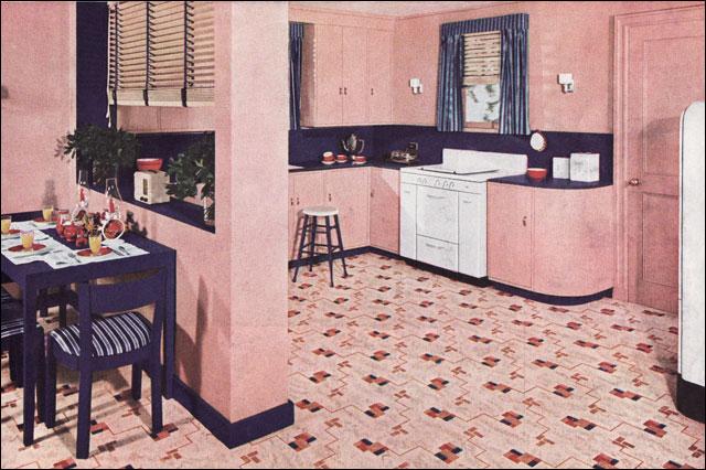 1940 Pink Kitchen This Kitchen By Nairn Linoleum Was