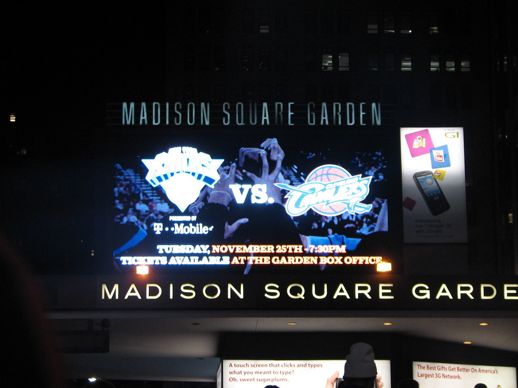 Knicks Vs. Cavs On The Madison Square Garden Marquee - New ...