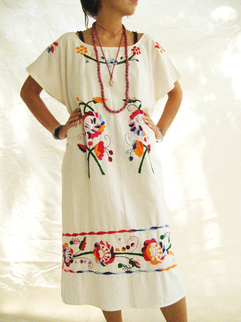 Mexican Embroidered Sundress Cotton Strapless Beach by chokethai