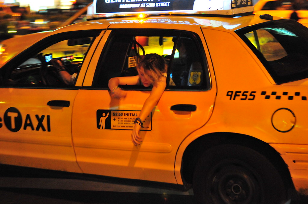 Drunk Girl Hanging Out Of A Taxi Cc Bryan Thatcher