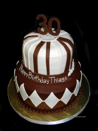 Brown, white and gold 30th Birthday cake www.simply ...