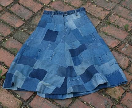 Vintage 1970s Patchwork Denim Skirt Greighday Vintage