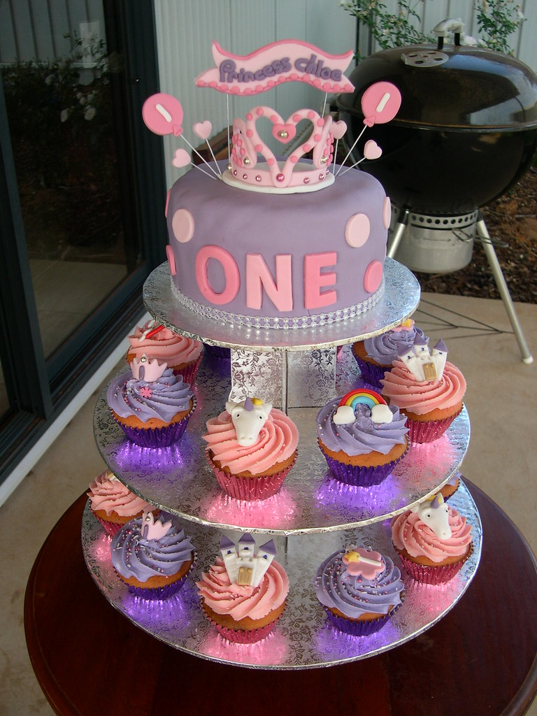 Princess chloes first birthday cake cupcakes This has t Flickr