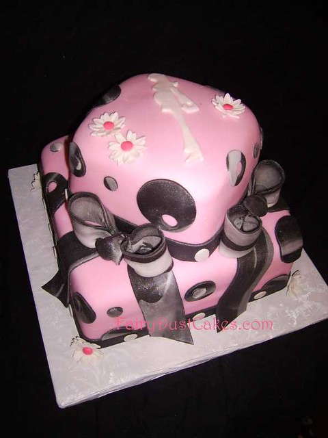 Modern Mom Pink And Black Baby Shower Cake This Two Tier B Flickr
