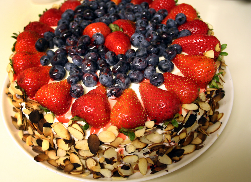 Cake With Whipped Cream And Fresh Fruit : cake, hastily photographed fresh fruit cake with whipped ...