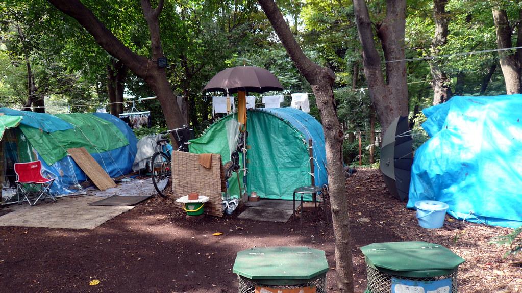 Clothespeg tent, Homeless camp, Shinjuku Park, Shinjuku, T ...