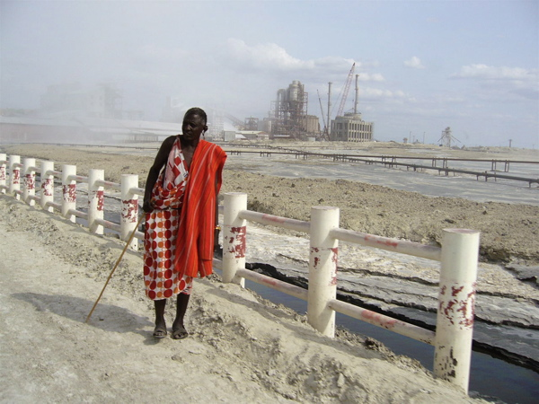 Maasai Tribesman and Factory Worker, Magadi Kenya Africa