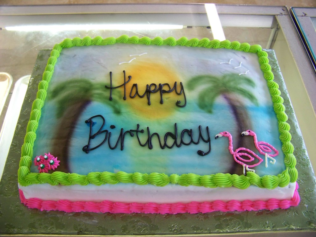 Tropical Birthday Cake A 1 3 Sheet White Cake Covered In