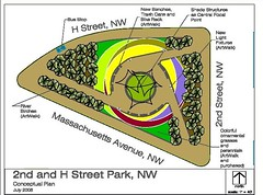 Rendering for proposed improvements to park at 2nd, Mass and H | by fourthandeye