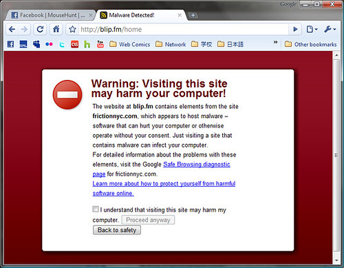 Blipfm Malware Warning  Google Chrome Warning Me Of -1519