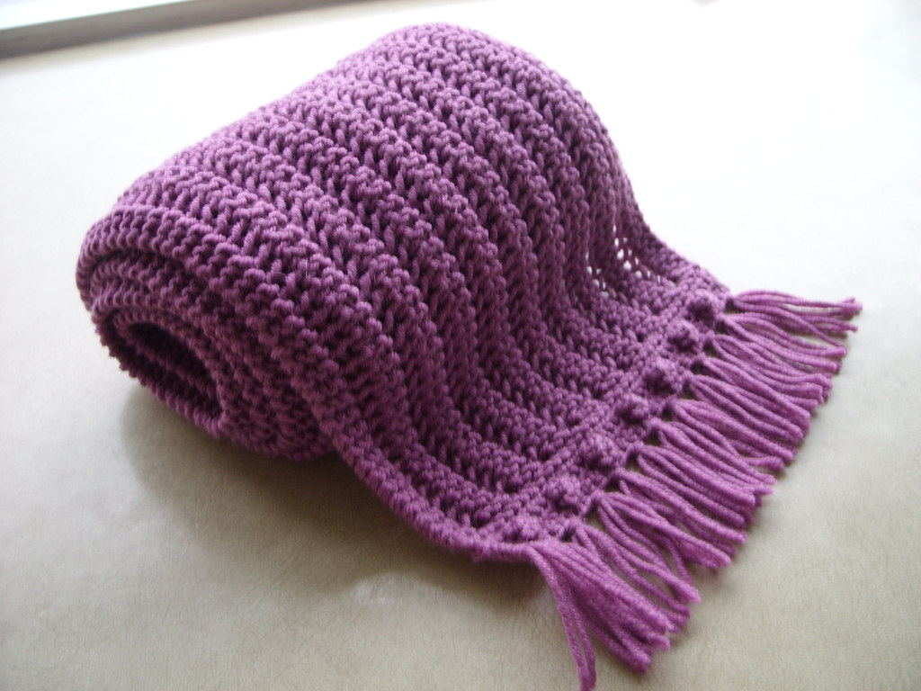 one row scarf with crochet popcorn edging sussmth7 flickr
