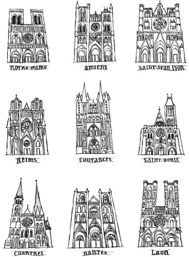 Nine cathedrals in france pen ink maral sassouni for Architecture et art
