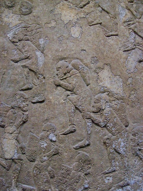 Workers assyrian stone carving british museum becky