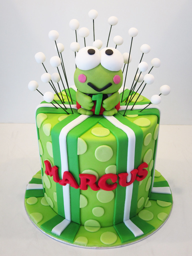 Keroppi A Green Hat Cake With Stripes And Polka Dots
