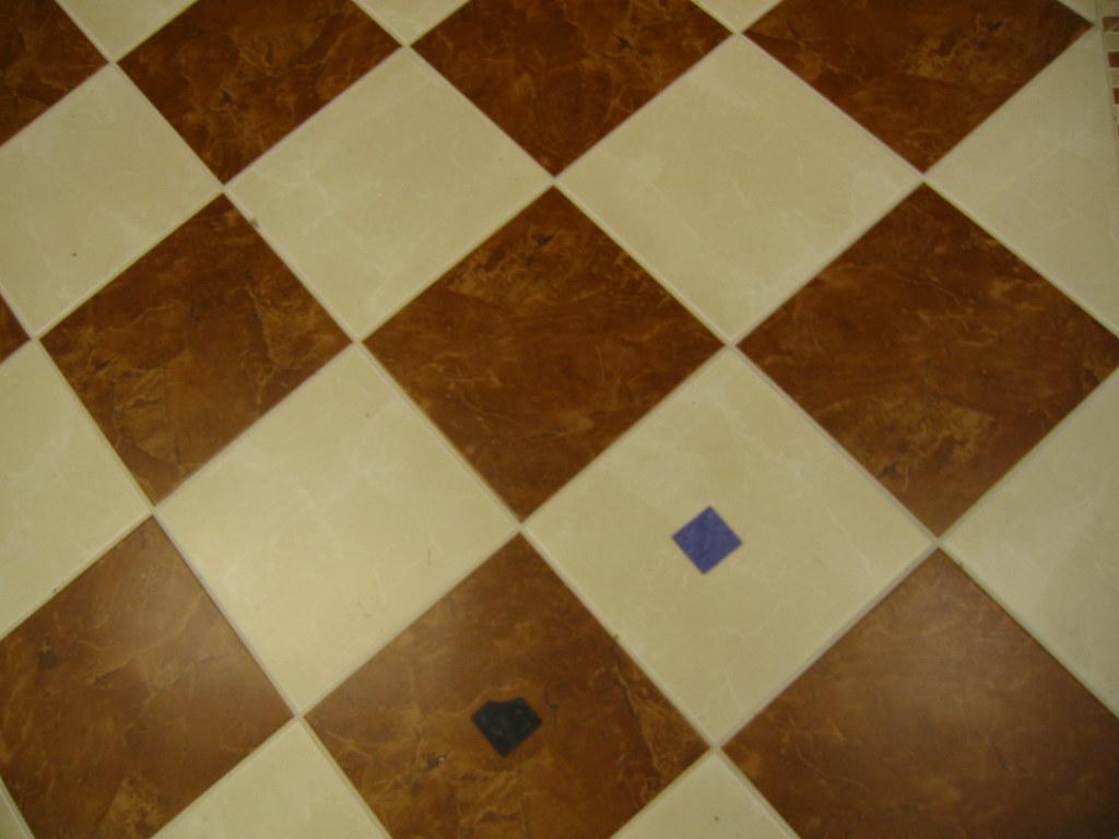 White Diagonal Tile Kitchen Floor