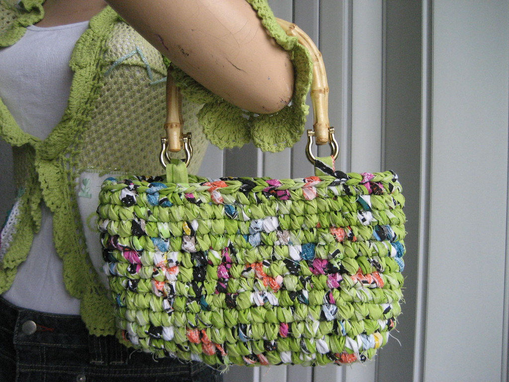 Crochet Bag Bamboo Handles Pattern : Crochet Bag W/ Bamboo Handles Handmade bag with strips ...