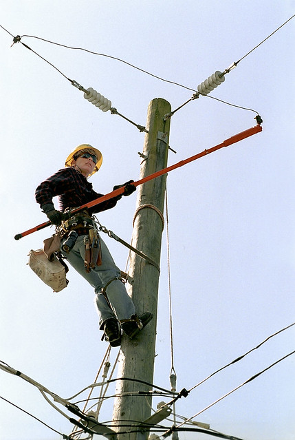 Lineworker On Utility Pole 1998 Item 124184 Fleets And