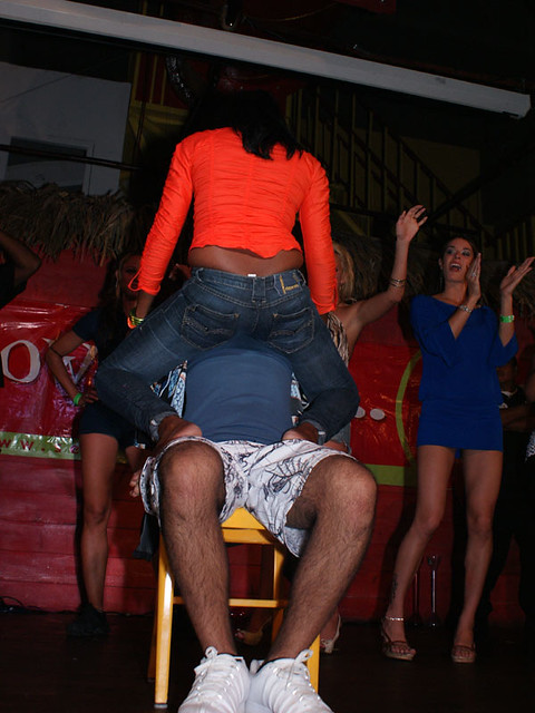 Guy getting lap dance