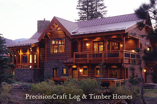 Exterior View Custom Timber Frame Home Located In Cali