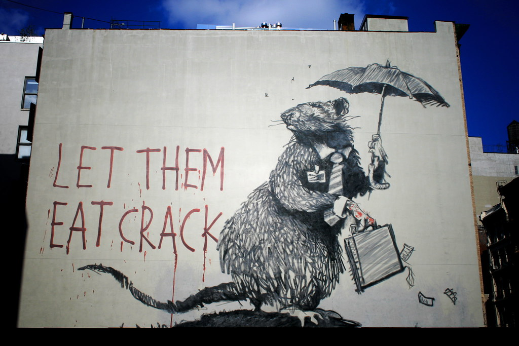 banksy rat mural let them eat crack on broadway howard