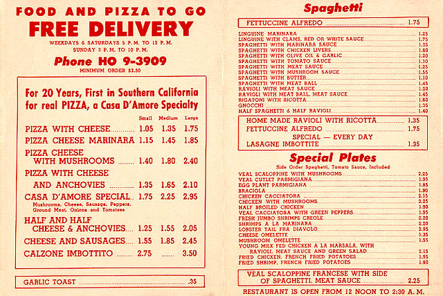 Menu From Casa D Amore Los Angeles Circa 1950s Steve