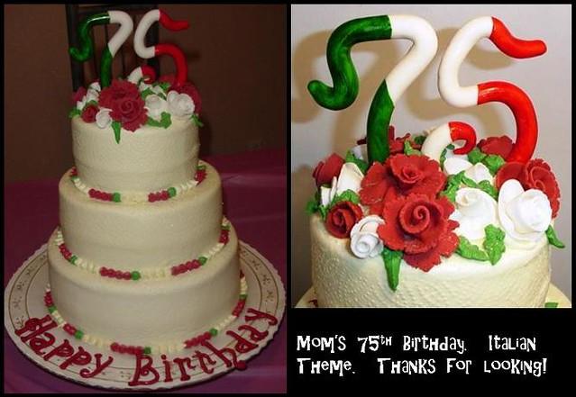75th Birthday Cake Italian Theme 1st three tiered cake f Flickr