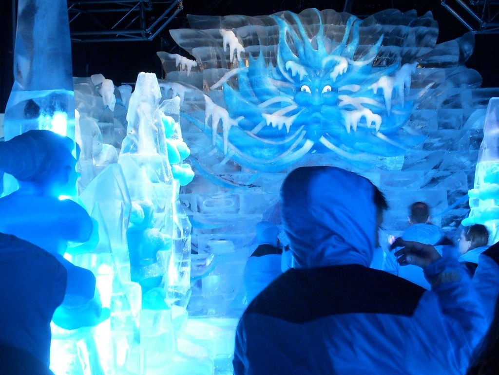 Old man winter blowing snow ice sculpture at the gaylord