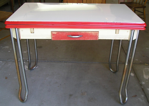 Vintage Enamel Kitchen Table For Sale