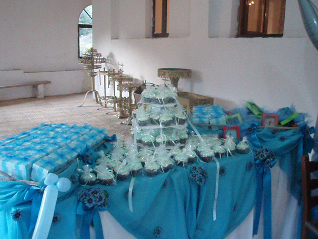 Blue and white theme for baby boy baptism devil 39 s food for Baby boy baptism decoration ideas