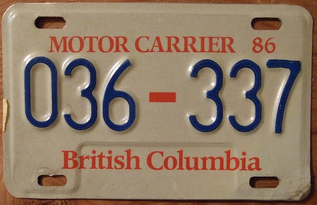 British Columbia 1986 Motor Carrier Plate Explore Woody177 Flickr Photo Sharing