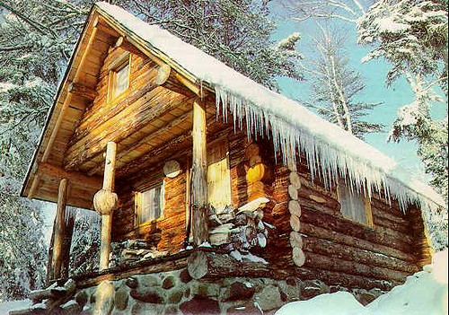 Snow Cabin Pictures Log Cabin Covered in Snow