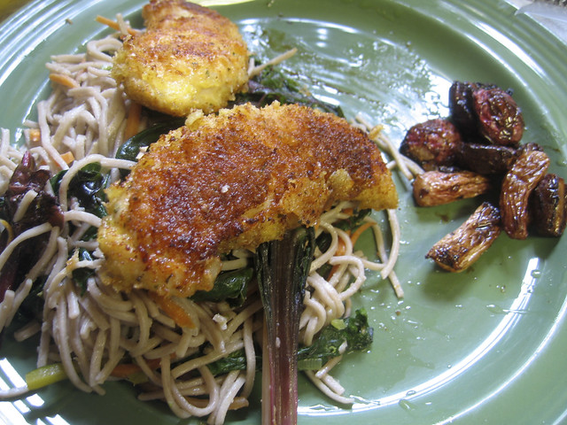 garlic soba noodles with parmesean chicken and soy glazed ...