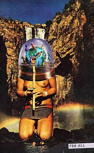 LARRY CARLSON, For All, collage on paper, 9x6in., 2004. | by LARRY  CARLSON