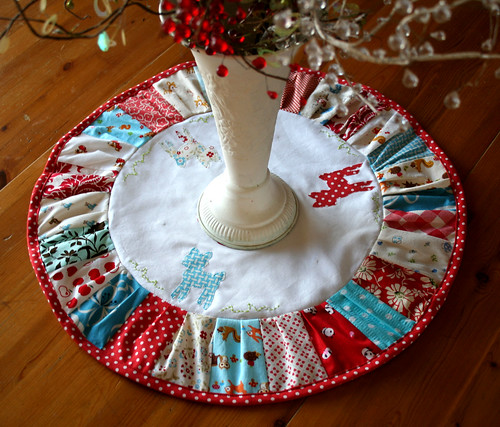 Patchwork red, aqua and white deer table topper | by sewdeerlyloved