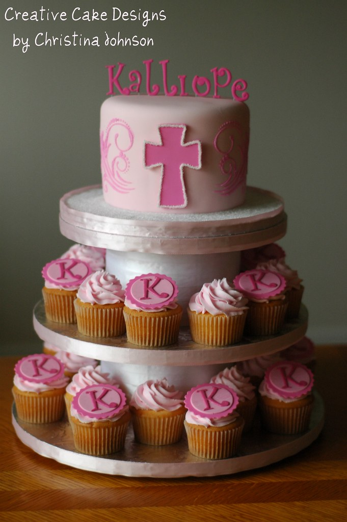 Cupcake Christening Design : Pink Baptism Cupcake Tower This went all the way to ...
