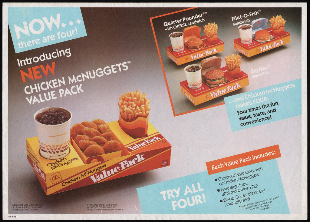 Mcdonalds Trayliner Placemat Chicken Mcnuggets Value Pac