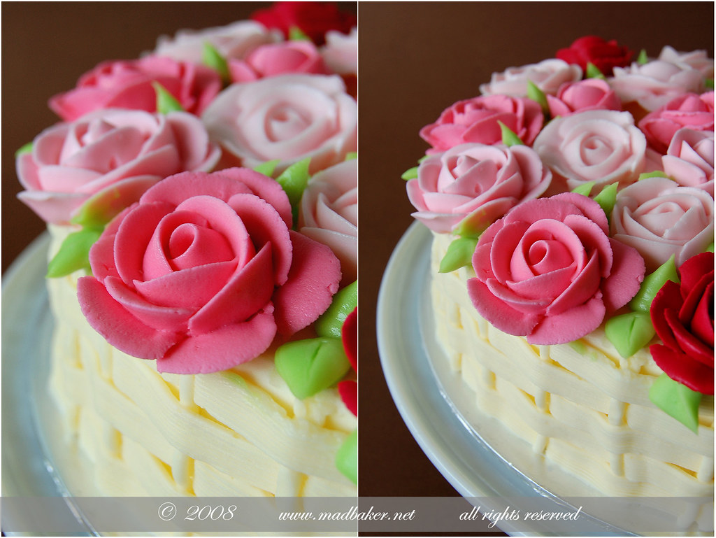 Basket Of Roses Birthday Cake