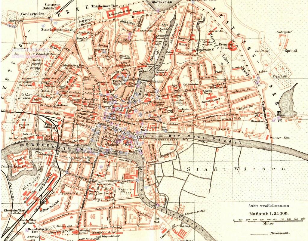 012 K 246 Nigsberg Stadtplan 1900 Alter Stadtplan Von