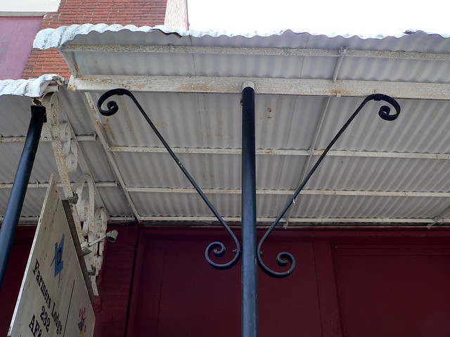 Iron Awning And Pipe Supports Made By George L Mesker Company From Evansville IN The Masonic Lodge Which Is Adjacent Has An Other