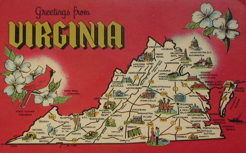 "Old Dominion Jobs >> Greetings from Virginia map postcard | Back text: ""VIRGINIA … 