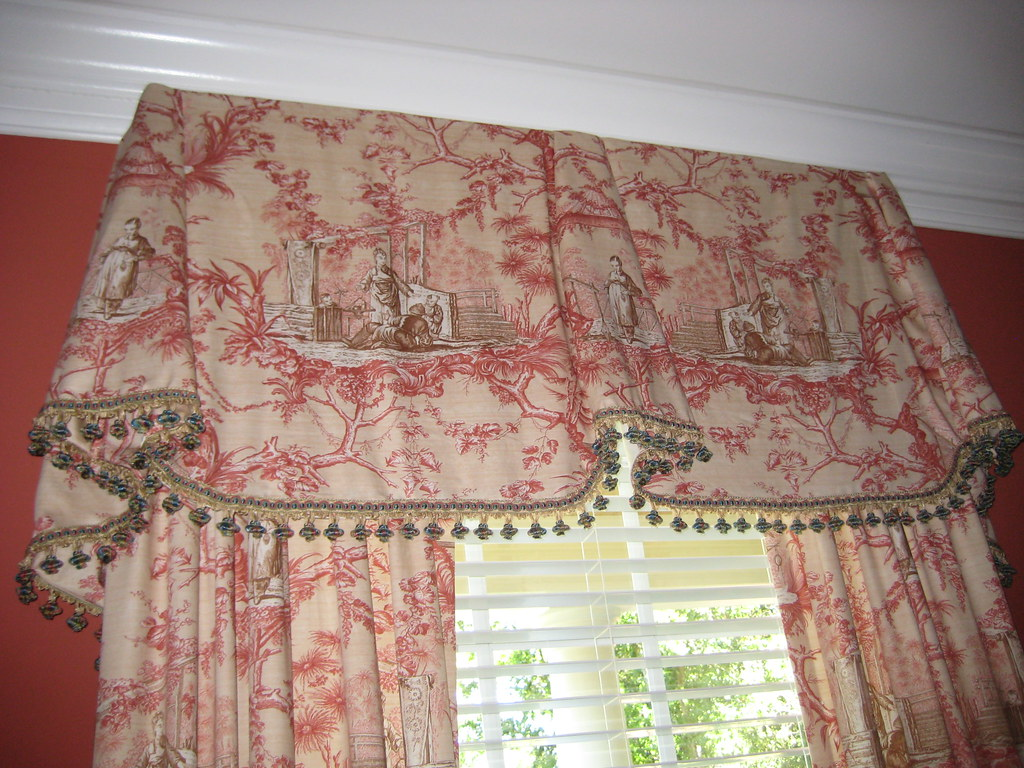 valance curtains for bedroom chinoiserie toile valance detail of dining room window 17682