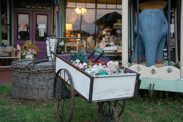 Cohasset Antique Shop Giant Basket Wheelbarrow And