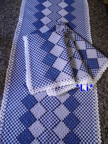 Conj. Bordado em tecido xadrez. | Ref:22 Encomenda. | Elisangela