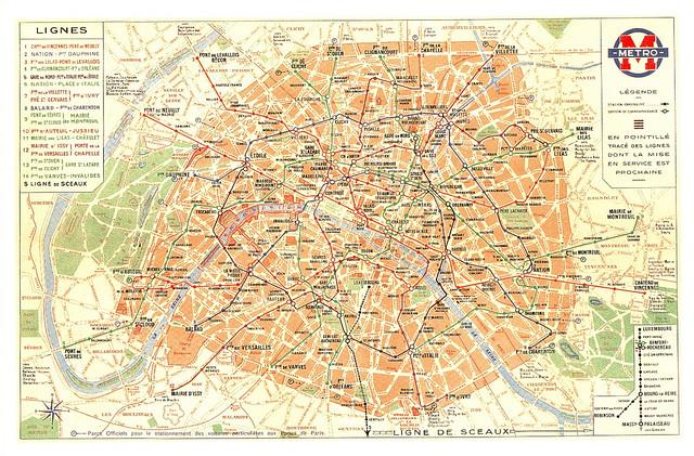 Paris Metro Map Postcard Modern Reproduction Flickr - Modern map of paris