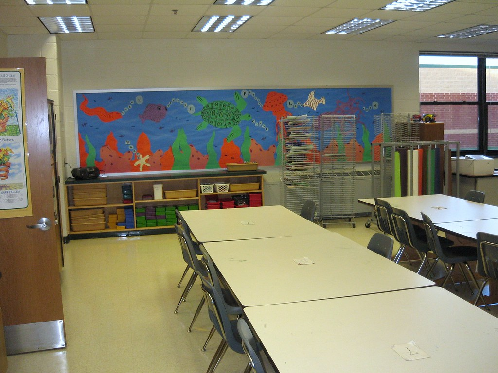 My art classroom 2008 mural wall outer storage my art for Classroom wall mural