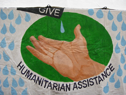 """Humanitarian assistance"" painting 