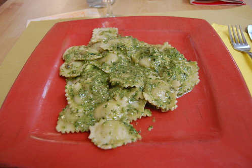 tofu/asparagus ravioli with fresh pesto (the white pieces are pine nuts and garlic) | by valeriedoucette