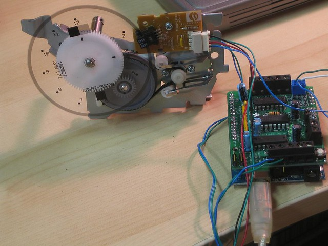 Ink jet paper feed motor hooked up to arduino using pid co for Arduino encoder motor control
