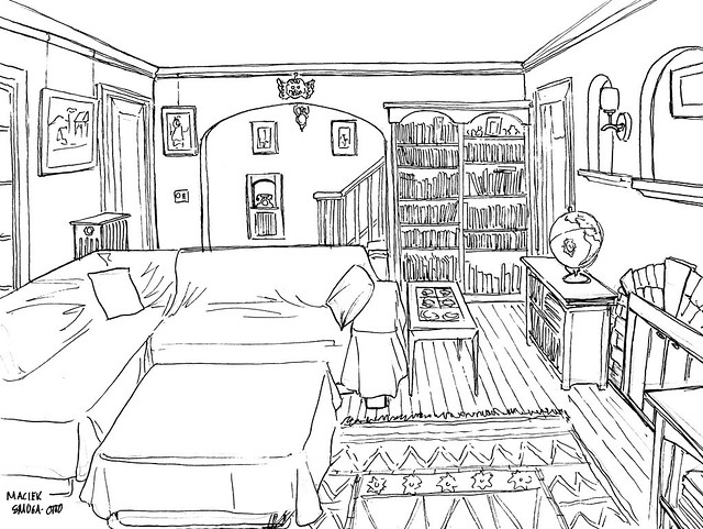 Living room sketch ink the first assignment in drawing for Online drawing room