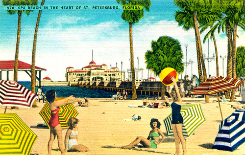 Postcard of Spa Beach by St. Petersburg Municipal Pier, 1940s | by StevenM_61